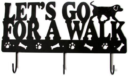 """DEI Leash Holder Wall Rack, """"Let's Go for a Walk"""", Black DEI http://smile.amazon.com/dp/B002EDNHW4/ref=cm_sw_r_pi_dp_CFp4tb158W7YN"""