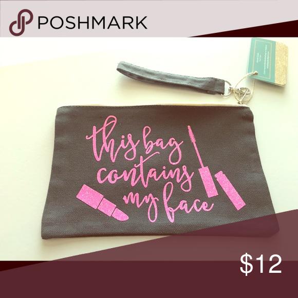 Makeup bag Dark grey makeup bag with pink glitter vinyl