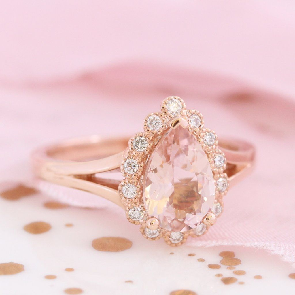 Vintage Luna Halo Ring w/ Pear Morganite and Diamond   Morganite ...
