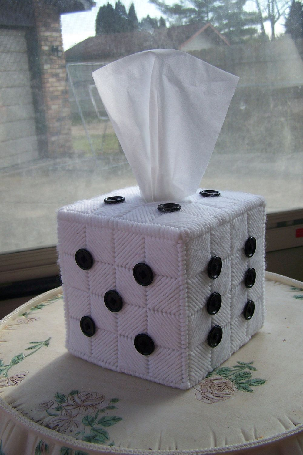 NEW PRODUCT in our store -- BUNCO Dice (Die) Boutique Tissue Box Cover. $29.99, via Etsy.