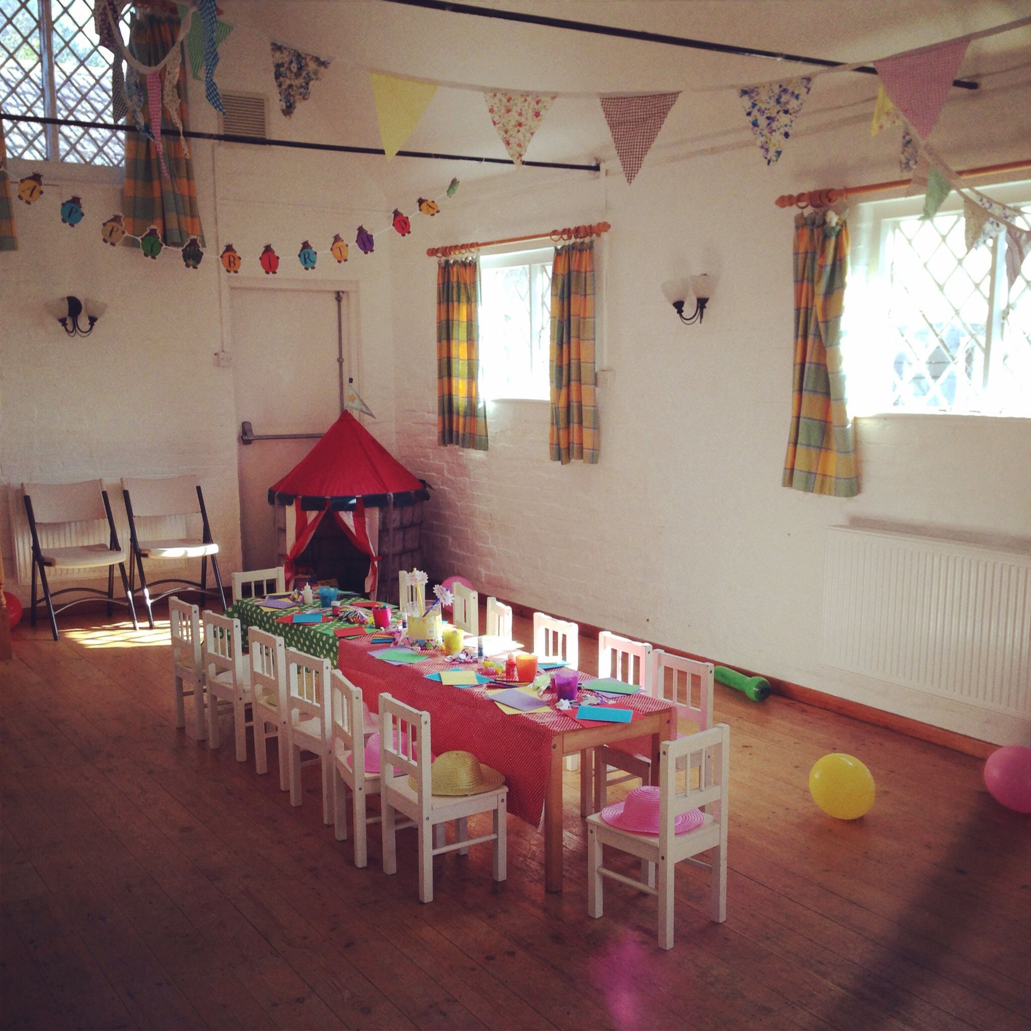 Village hall toddler 39 s birthday party old school style Dining hall decoration ideas