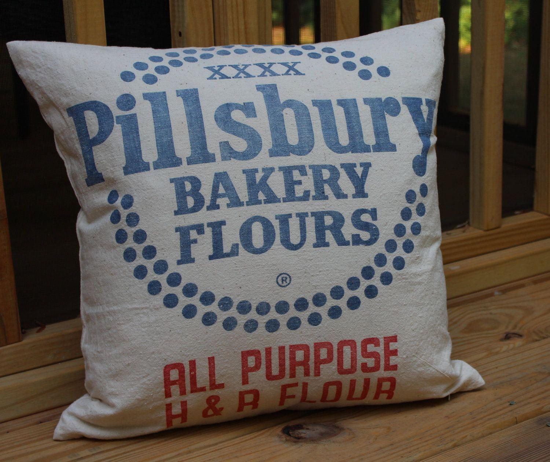 Vintage Flour Sack Pillow Cover 18 Inch Pillsbury Bakery H R