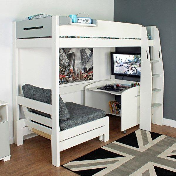 Urban Grey High Sleeper 1 Bed in White & Grey