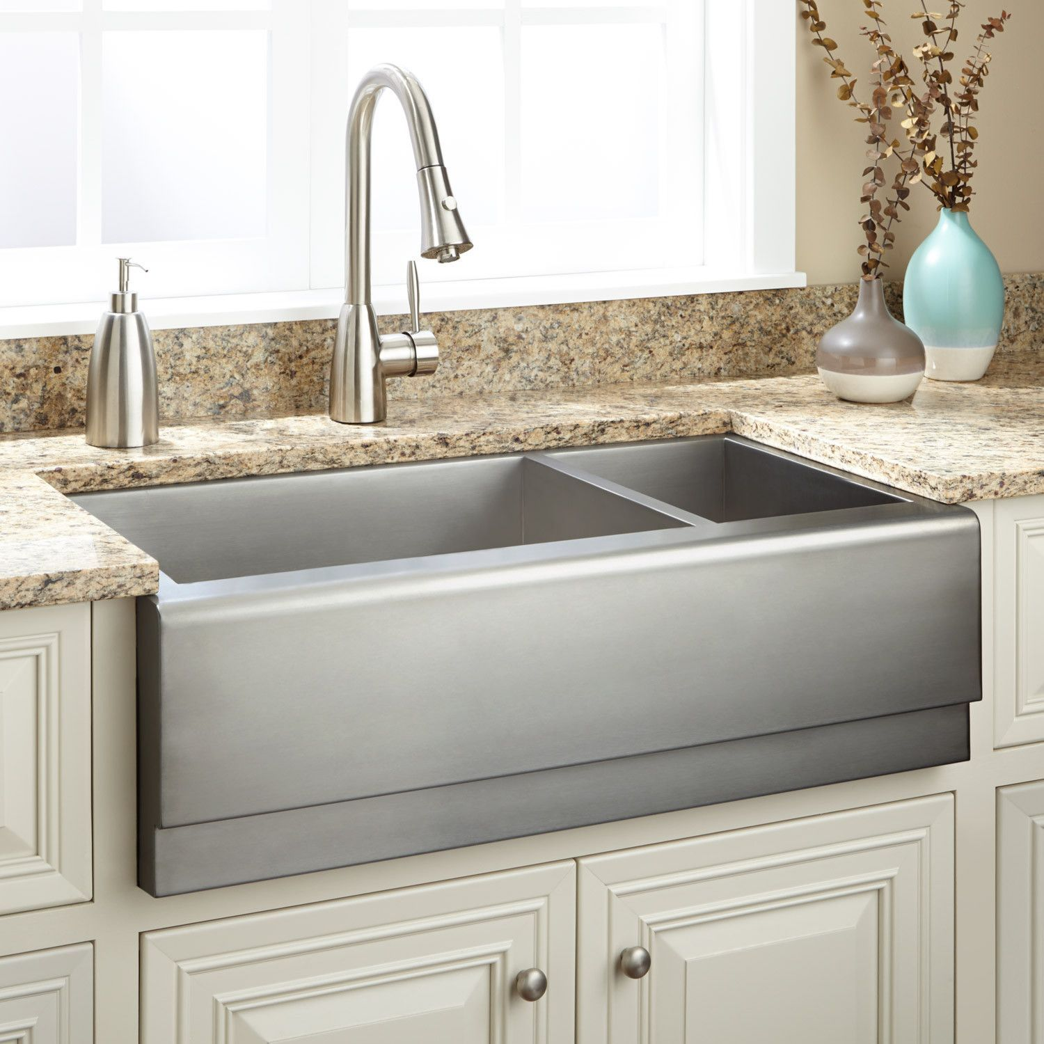 33 Archer 70 30 Offset Double Bowl Stainless Steel Farmhouse Sink