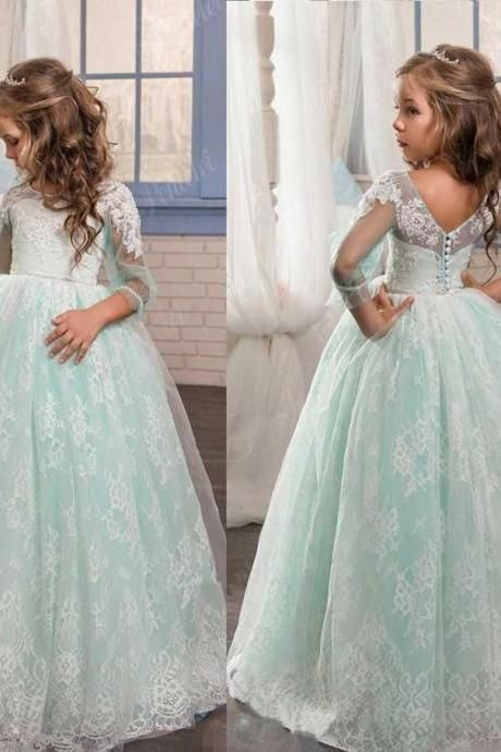 Wedding Kids Princess Flower Girls Dress Pageant Graduation Birthday Party Gowns