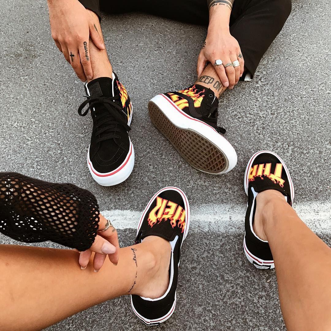 Tilla Leah and Pablo Pavez walking on fire. Vans x Thrasher