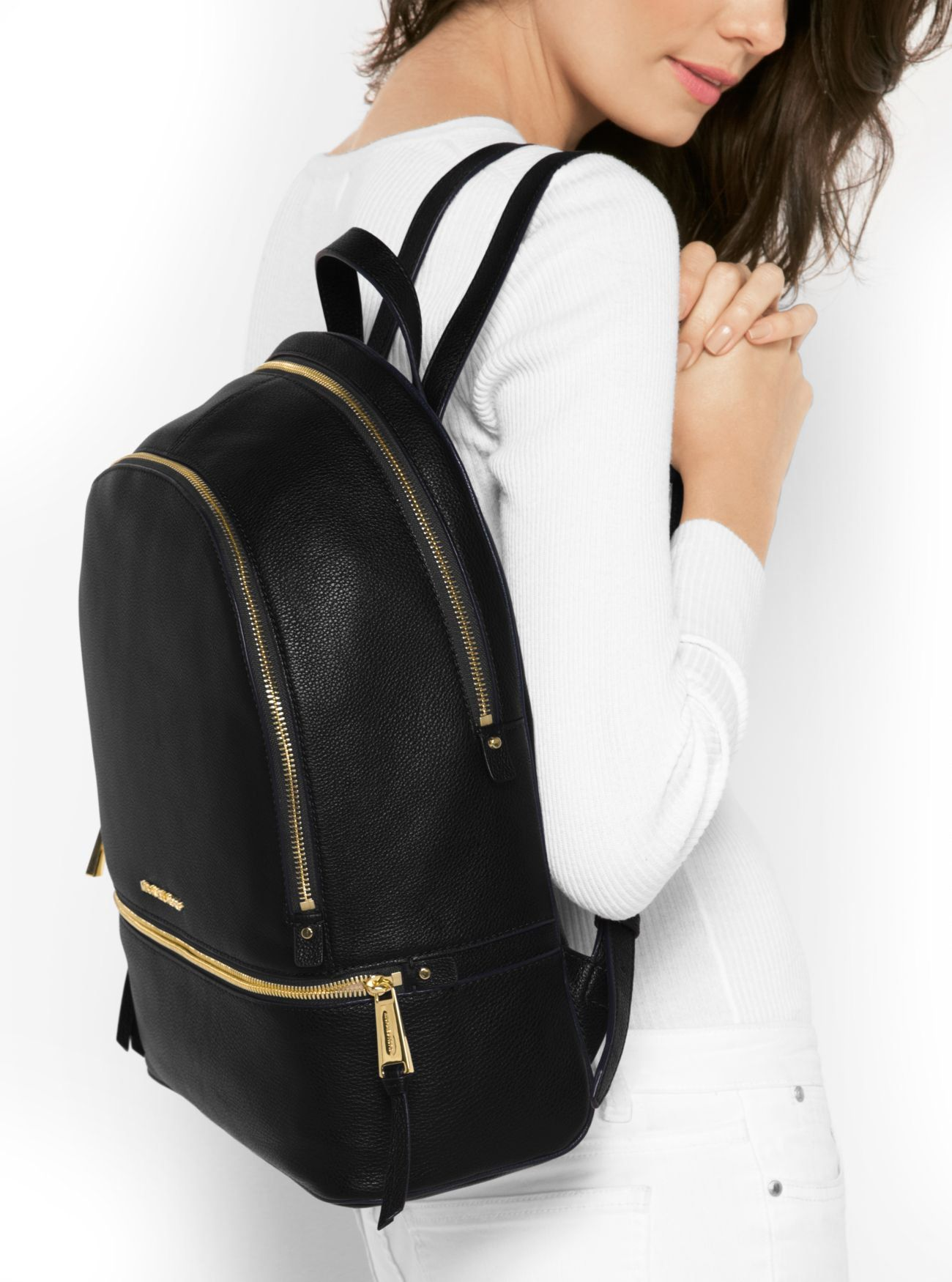 4e92b3d52cea5a MICHAEL Michael Kors Rhea Zip Large Leather Backpack Black * Check out this  great product. (This is an affiliate link) #MichaelKorsHandbags