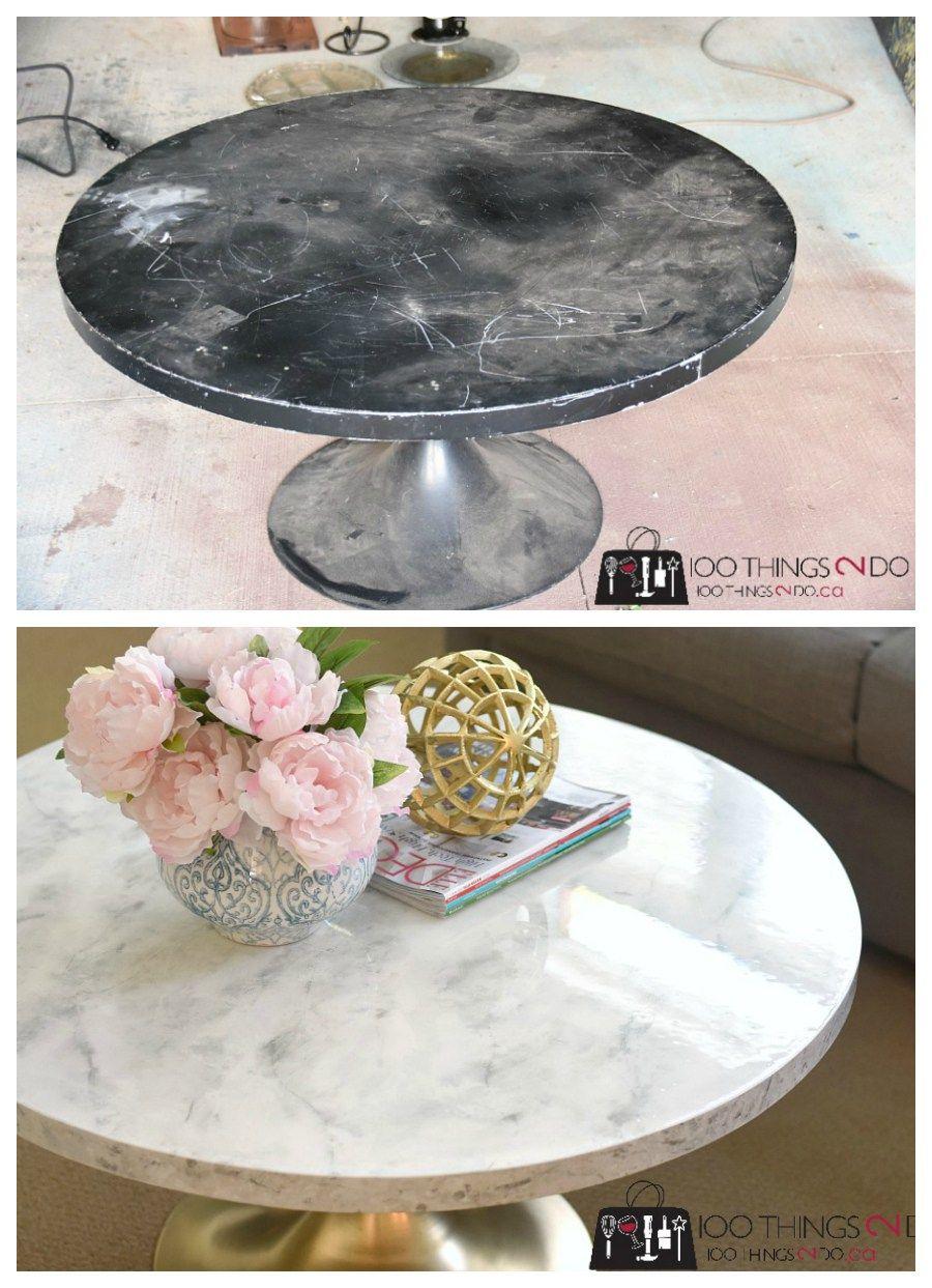 Marble Coffee Table Mid Century Modern Round Pedestal Faux Carrera Diy