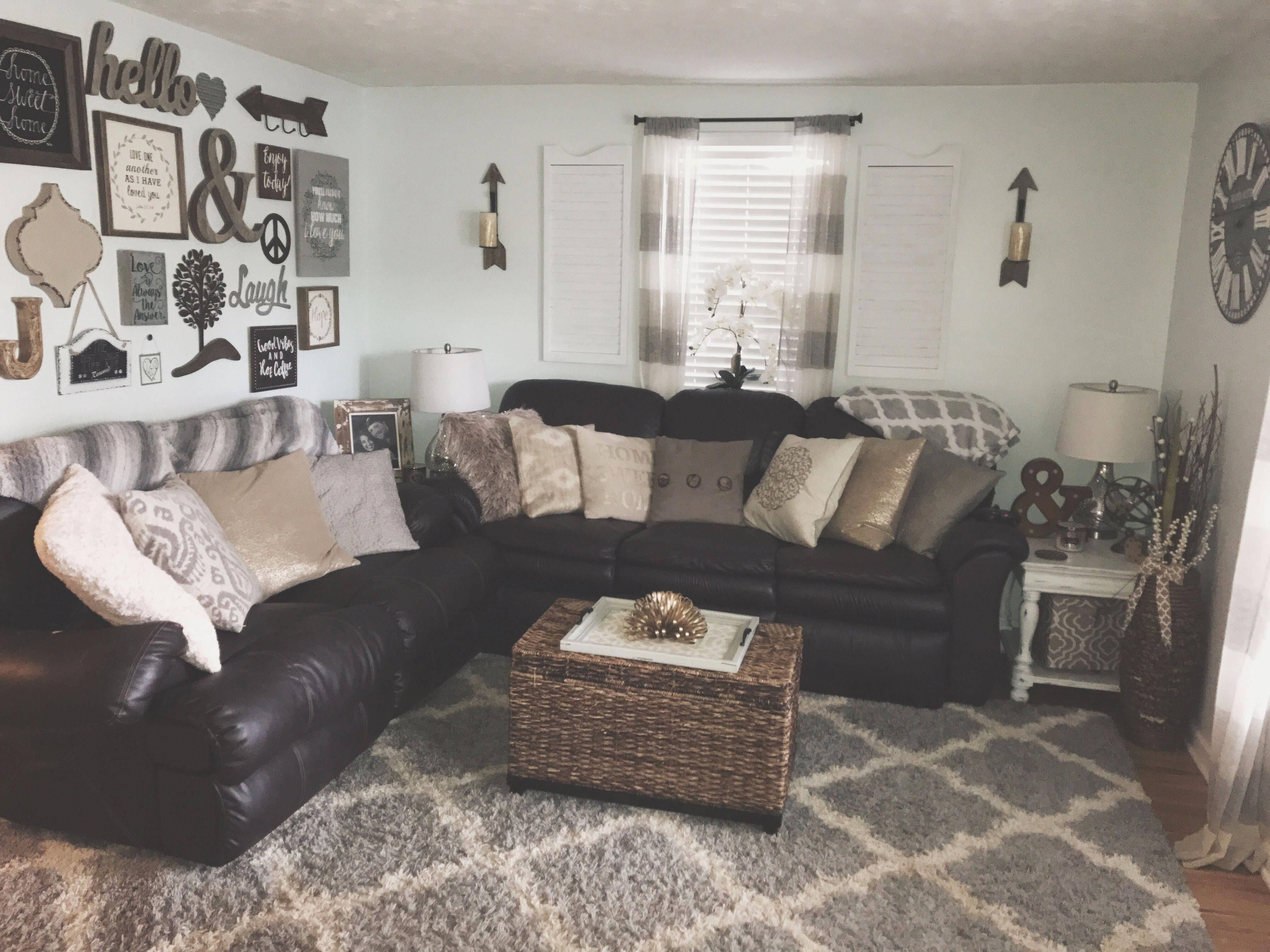 Cozy Rustic Farmhouse Glam Chic Inspired Living Room In Neutral Colors Mos Chic Colors Cozy Farmhouse Glam Inspired Living In 2020 Brown Couch Living Room Living Room White Living Room Grey