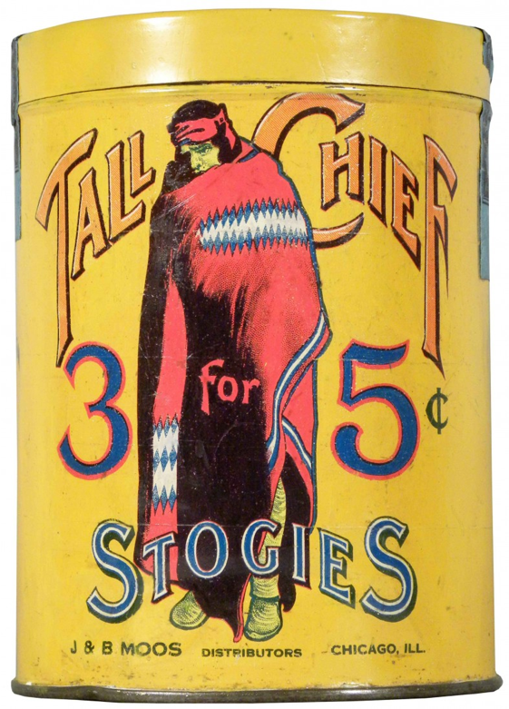 Tall Chief 3 for 5 cents Stogies Cigar Advertising Tin