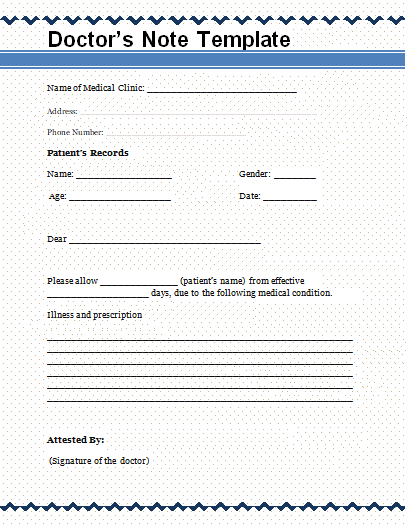 fake doctor notes template