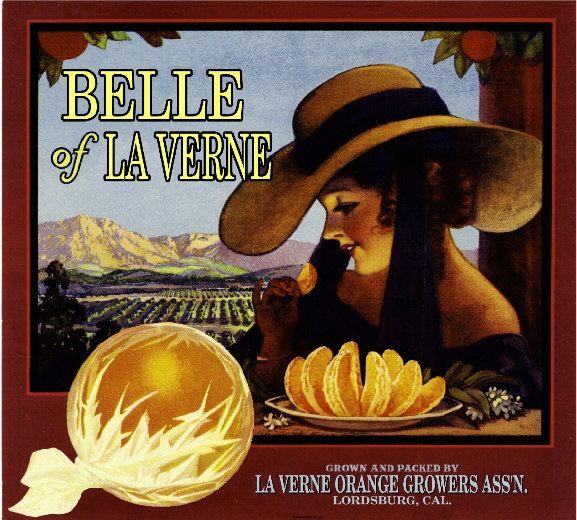 Lordsburg La Verne Belle of La Verne Orange Citrus Fruit Crate Box Label Art Print. $9.99, via Etsy.