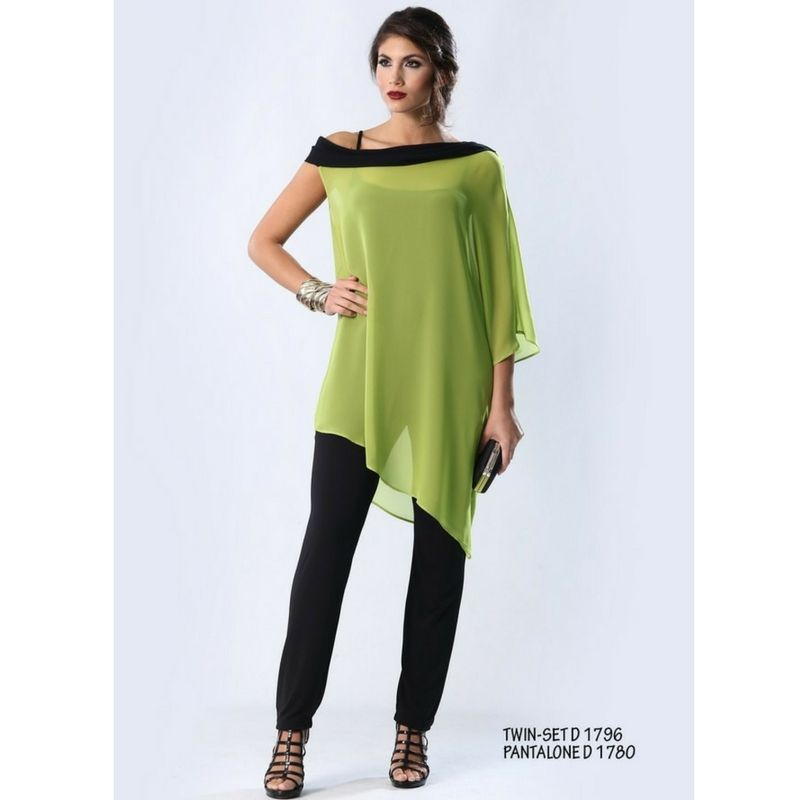 Camicia donna Twin-set taglie grandi casacca camiseta caftano Colore  verde  acido nero 5d93e73d0e0