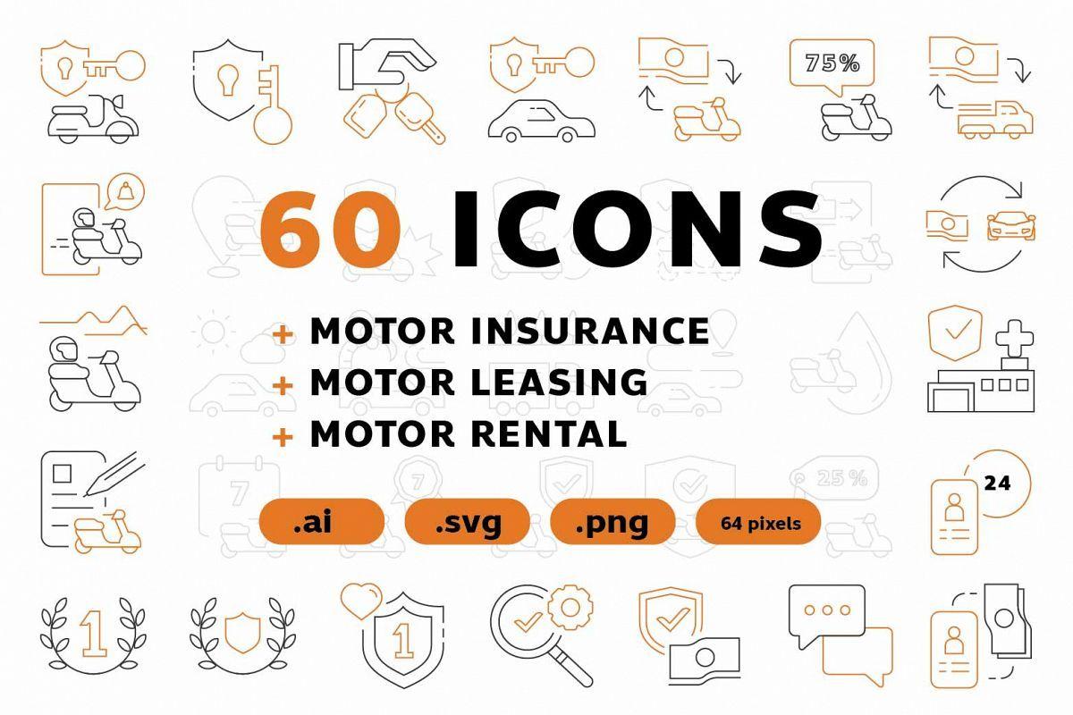60 Icons Motor Insurance 258341 Icons Design Bundles Insurance Ads Car Insurance Insurance