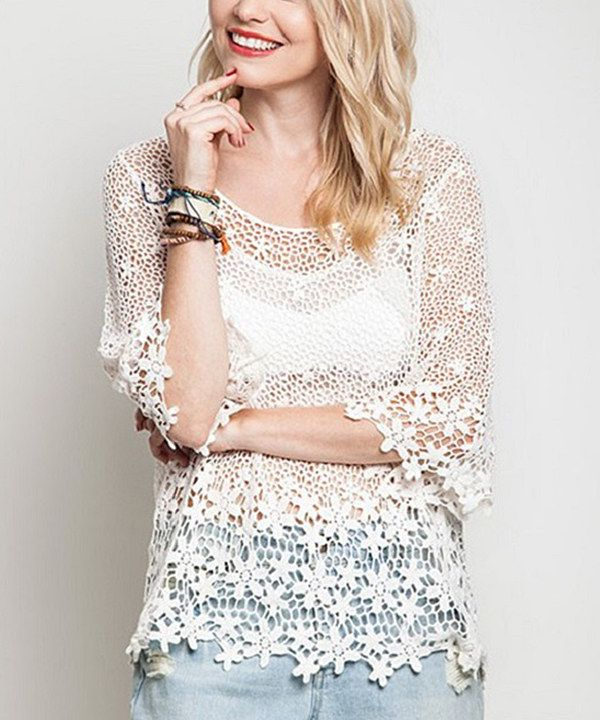 Look at this Ivory Lace Verra Tunic on #zulily today!