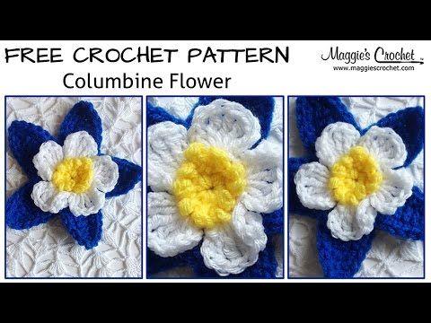 Columbine Flower Free Crochet Pattern - Left Handed - YouTube ...