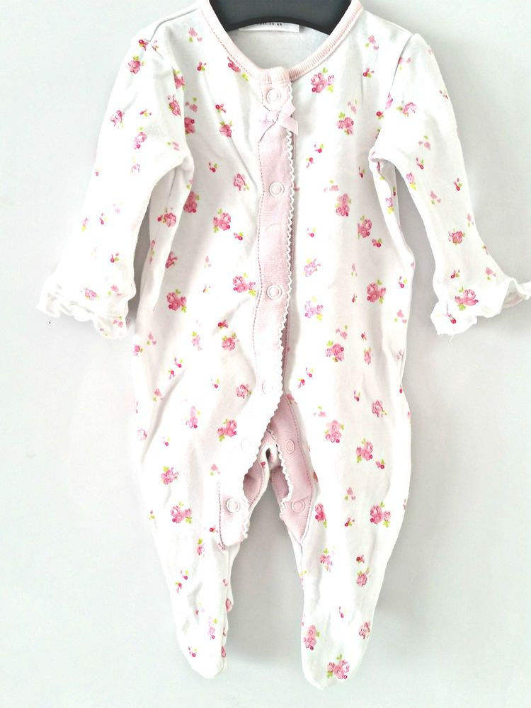 Baby Girls Clothes 0 3 Months Babygrow Playsuit White With Pink