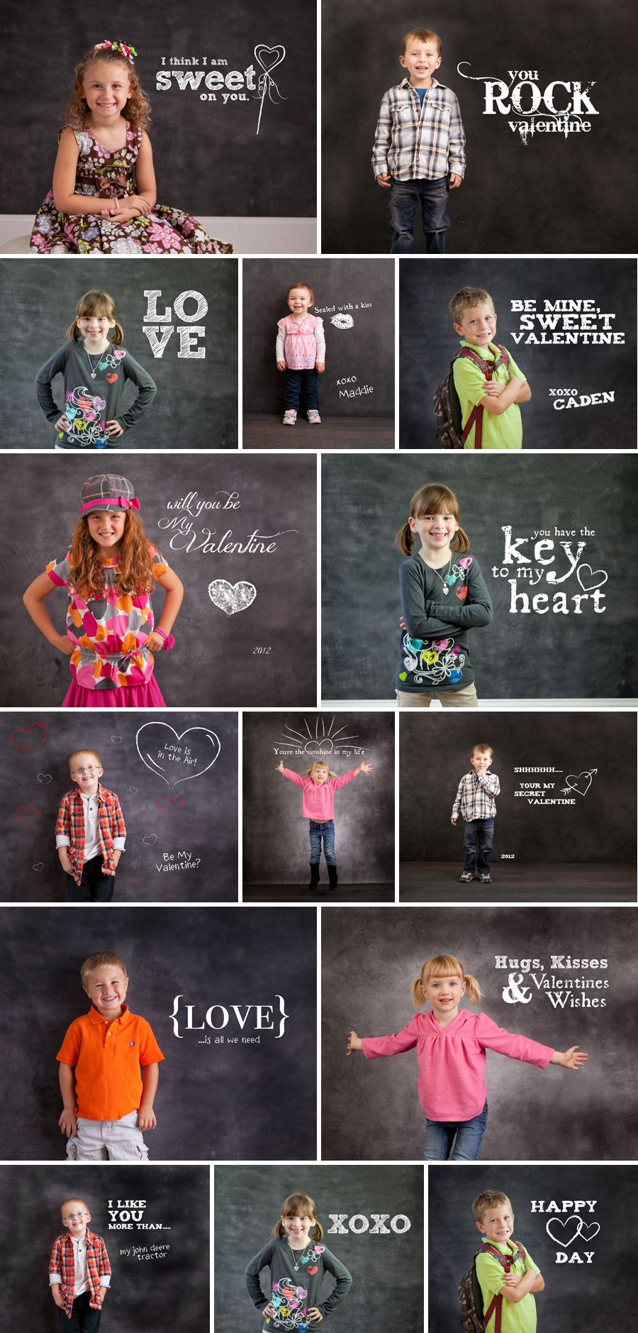 Chalkboard expressions valentine sayings photoshop template