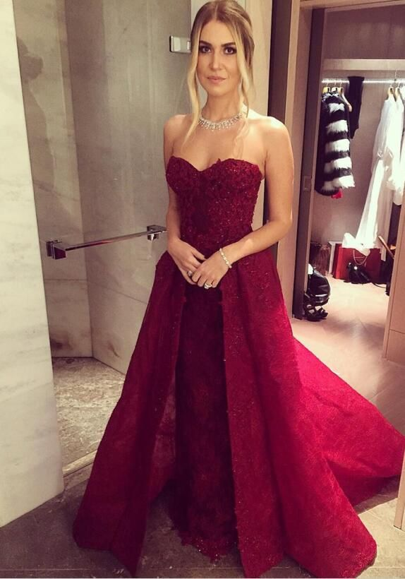 burgundy prom dress,2017 new evening gowns,lace appliques prom dress ...