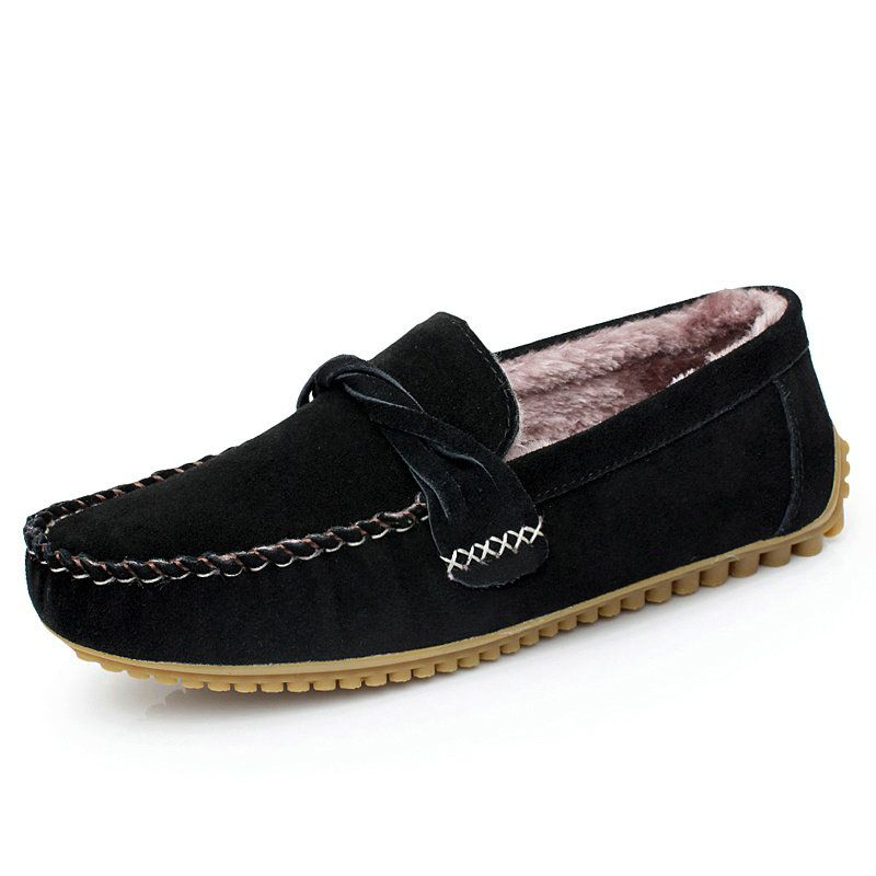 Winter Men Driving Shoes With Fur Designer Male Suede Loafers For Man  Moccasin Sapatos Size 38