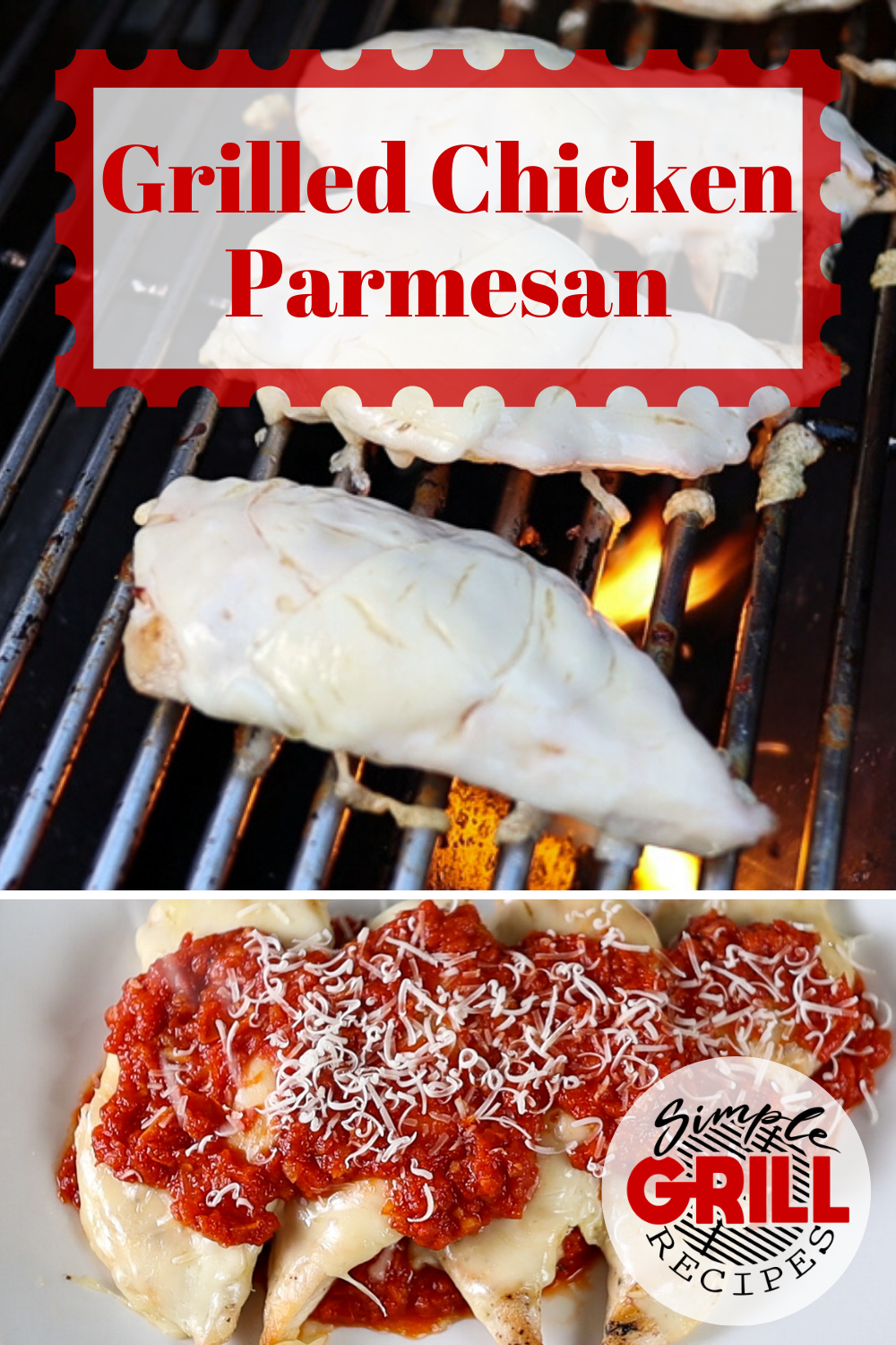 You're going to love this grilled chicken parmesan recipe. It is so simple and has such great flavor, no need to do a breaded chicken. #grilledchickenparmesan