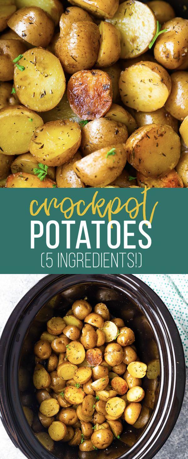Herb and Olive Oil Crock Pot Potatoes | sweetpeasandsaffron.com