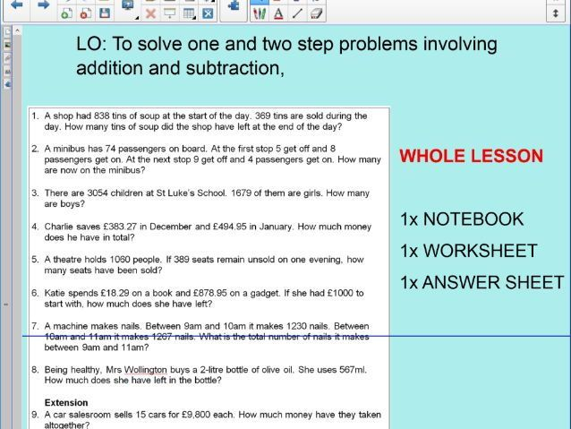 Whole Lesson - multi step word problems - addition - subtraction ...