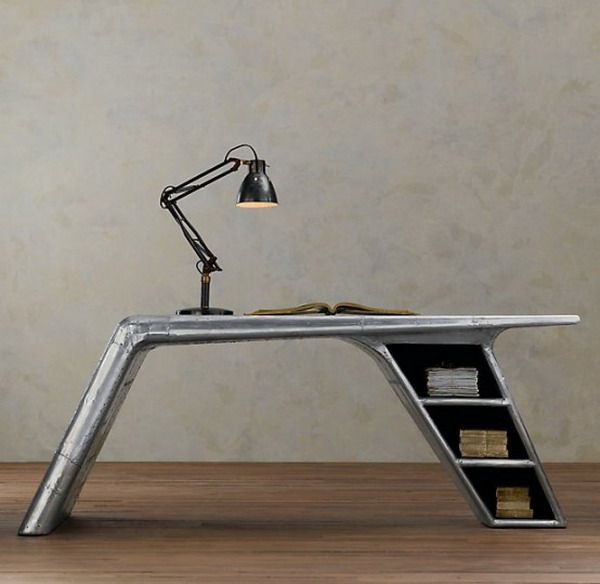 Aviator Bedroom | Airplane Furniture Metal Plane Desk Riveted Metal  Furniture