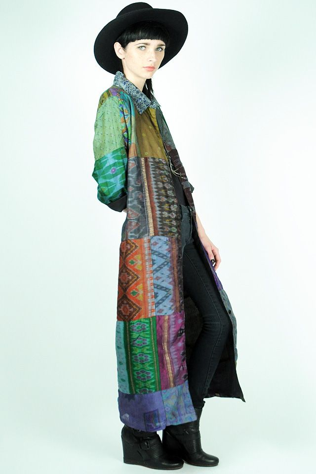 Indian silk patchwork duster