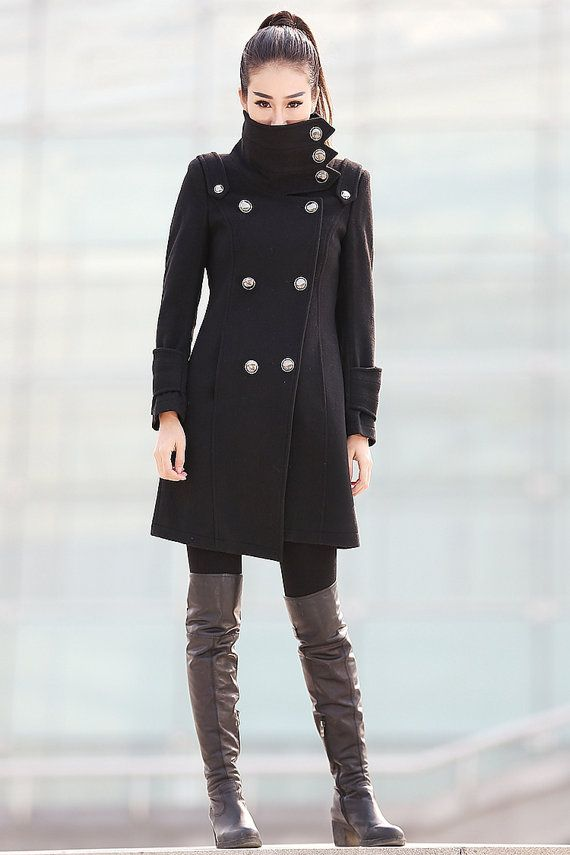 7c648e21c5ba Black Coat Fitted Military Jacket Winter 100 Wool by YL1dress  229.99