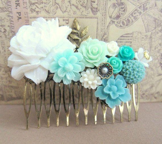 2 Turquoise Blue hair flowers Brides Satin blue pins,flower girls flower pins,Something Blue Hair Accessory,Birthday Gift,Destination Beach