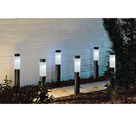 Buy black bollard style solar lights set of 6 at argos buy black bollard style solar lights set of 6 at argos workwithnaturefo