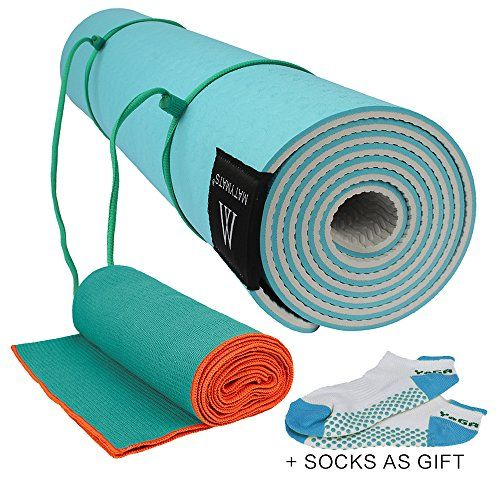 Matymats Yoga Kit Non Slip Yoga Mat Tpe Thick 14 7224 Skidless Yoga Towel Yoga Starter Sets For Hot Yoga Pilate Gymnastics Bikram Med Yoga Towel Hot Yoga Blue Towels