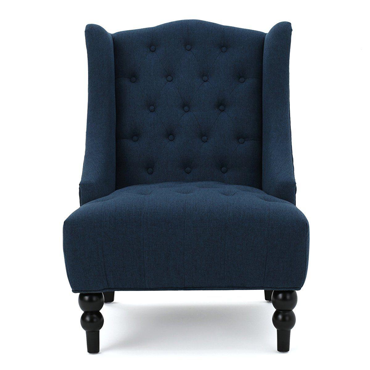 Best Clarice Tall Wingback Fabric Accent Chair Dark Blue 400 x 300