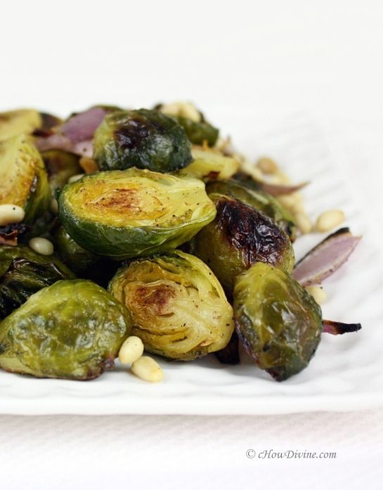 Roasted Brussels Sprouts With Toasted Pine Nuts With