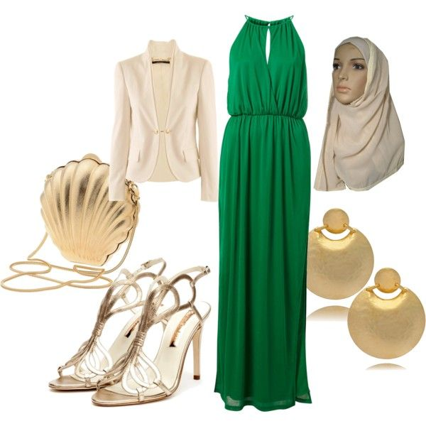 Gold and Green hijab by strawberrymuslimah on Polyvore featuring Gucci 27708caa7