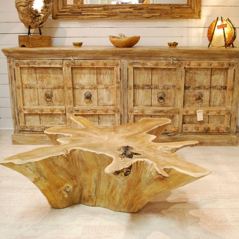 Table Basse Racine De Teck Forme Etoile Piece Unique Par Meuble Passion Table Basse Teck Mobilier De Salon Table Basse
