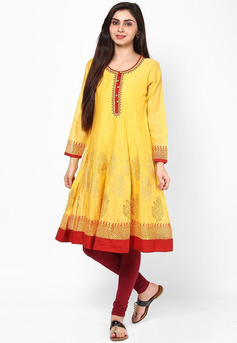 f55cf656c Rangriti Cotton Blend Yellow Kurta - Buy Rangriti Women Kurtis   Kurtas  Online