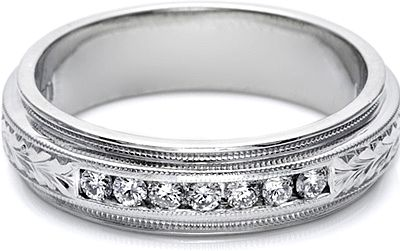 Tacori Mens Wedding Band With Hand Engraved Detail And Channel Set Diamonds 6 0mm This Unique Men S Features A Bridge Of Diamond Rounds