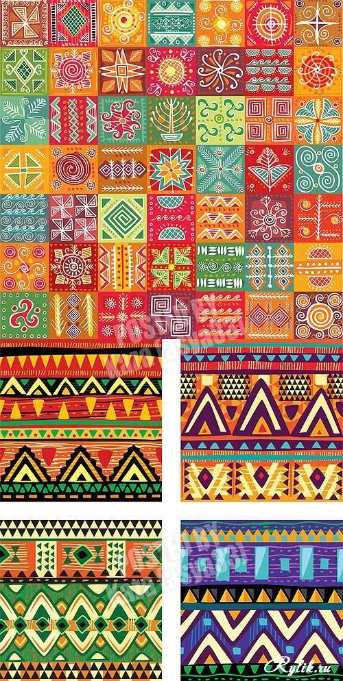 Этнические узоры - векторные фоны Ethnic patterns Details - ikat muster ethno design
