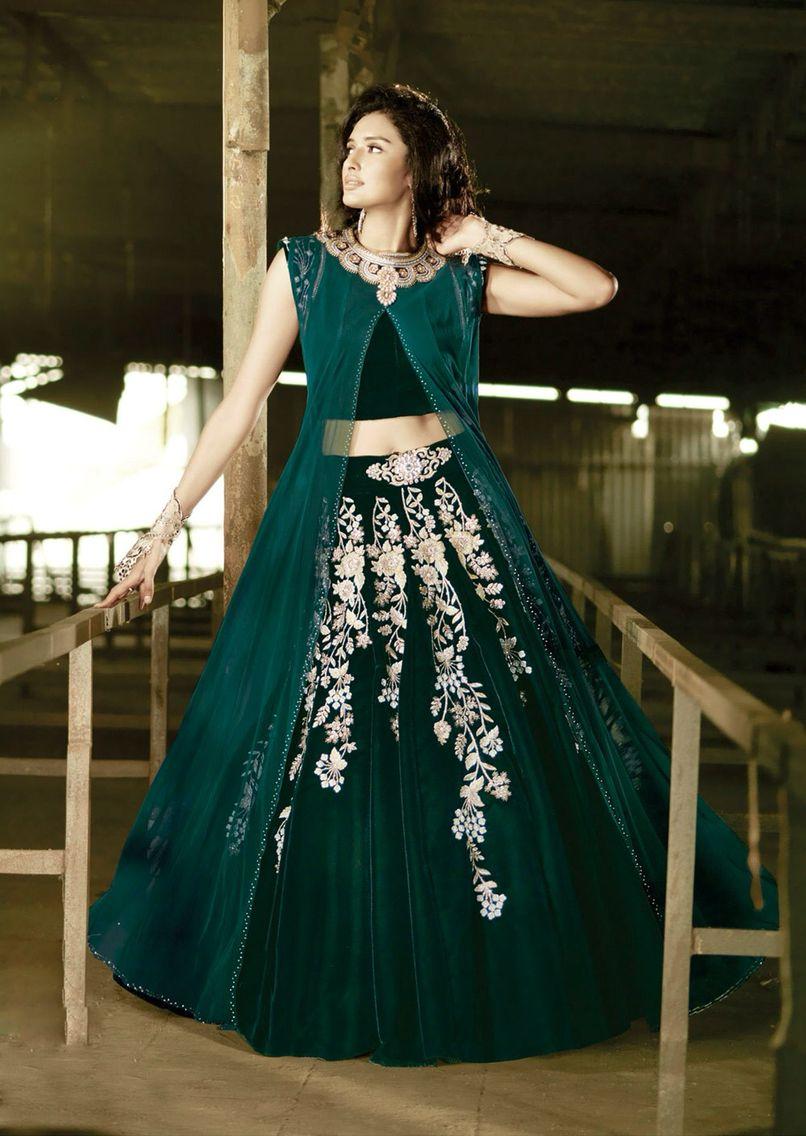 8605a0d5dd Dark green lehenga | dhiya | Dresses, Lehenga, Lehenga choli
