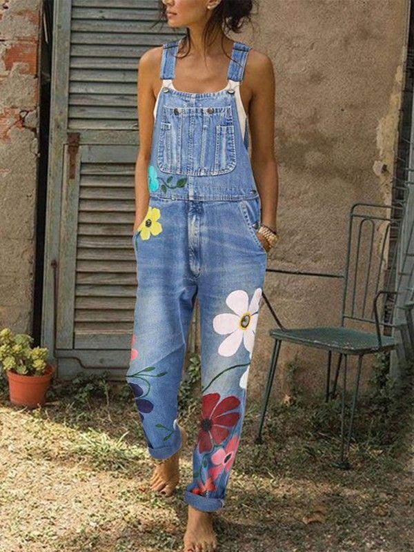 Hellblau Blumen Taschen Mit Trägern Jeans Overall Denim ...