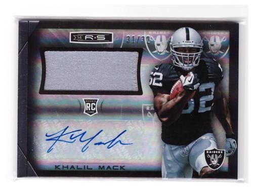2014 R S Khalil Mack Rc Auto Autograph Gu Jumbo Patch Jersey Card D 31 32 Football Cards Football Trading Cards Football Box