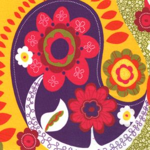 Fabric Finders House Designer - Flower Power - Floral Paisley in Golden Yellow