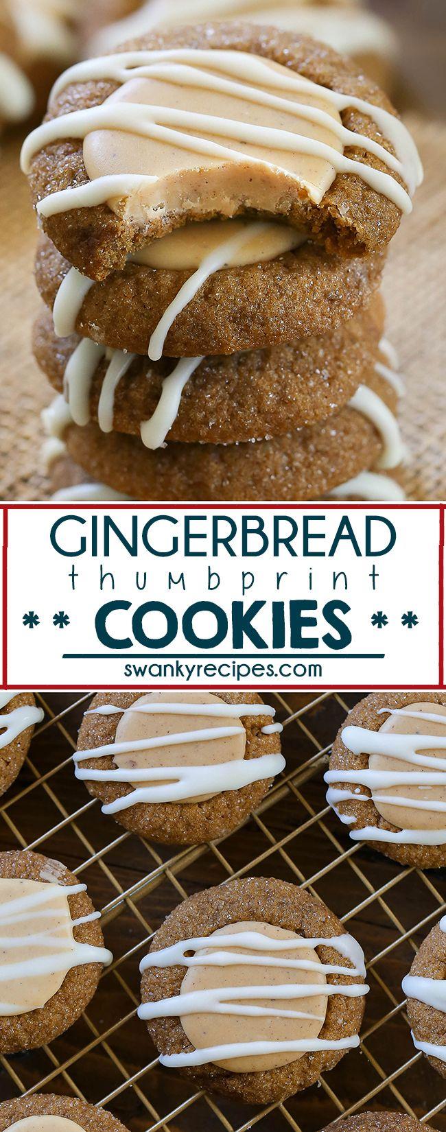 Gingerbread Thumbprint Cookies #gingerbreadcookies