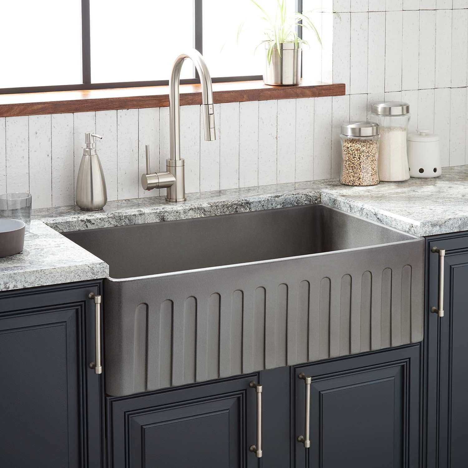 33 Mancini Reversible Fireclay Farmhouse Sink Fluted Apron Smoke Gray Fireclay Farmhouse Sink Contemporary Kitchen Farmhouse Sink Kitchen