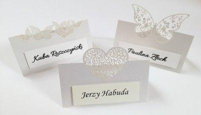 Winietki Wizytowki Na Stol Slubne Motyl Serce 6734521569 Oficjalne Archiwum Allegro Place Card Holders Place Cards Wedding