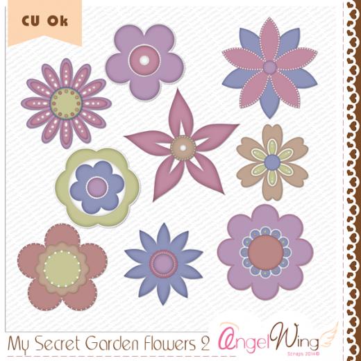 CU My Secret Garden Flowers 2 Clip Art