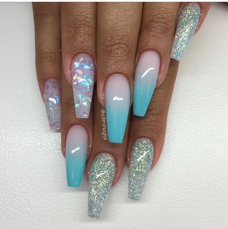 baby blue and pink with sparkles nails in 2019 nails