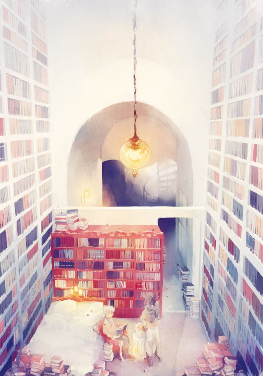 library, soft atmosphere